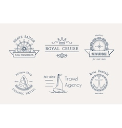 retro nautical logo templates vector image vector image