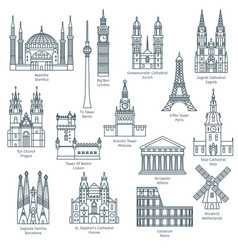 Set of attractions of europe vector