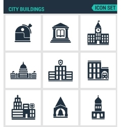 Set of modern icons city buildings vector