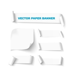 Set white blank paper curved horizontal banners vector