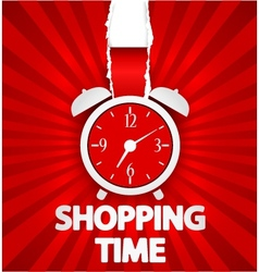 Shopping time poster design with alarm clock vector
