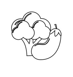 Silhouette broccoli and eggplant vegetable icon vector