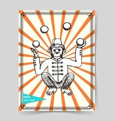 Sketch mokey juggler in vintage style vector image vector image