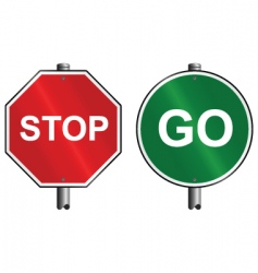 stop go signs vector image vector image