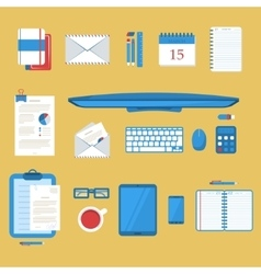 Students work table vector image vector image