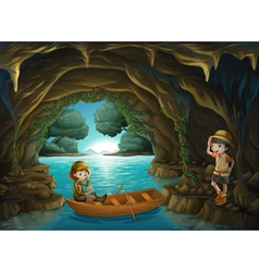 The two brave girls at the cave vector image vector image