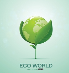 world on leaf eco world vector image vector image