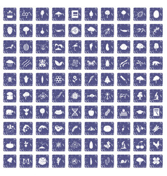 100 microbiology icons set grunge sapphire vector