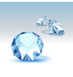 Blue shiny clear diamonds close up isolated vector