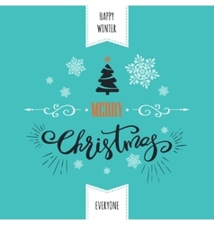 Merry christmas card holiday lettering design vector