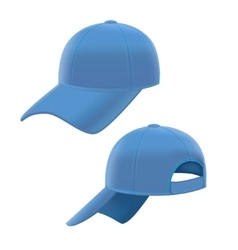 Realistic Blue Baseball Cap Set vector image