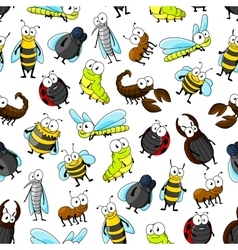 Insects and bugs seamless pattern background vector image