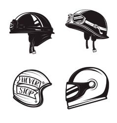 Set of different biker helmets isolated on white vector image