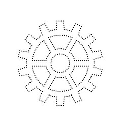 gear sign black dotted icon on white vector image