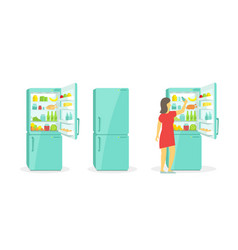 The woman takes in the fridge refrigerator vector