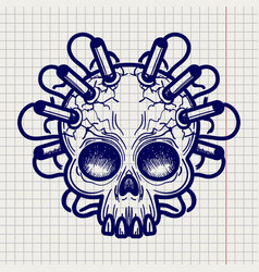 Pen sketched monsters skull with dynamite vector