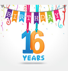 16 years birthday celebration greeting card design vector