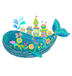 big beautiful whale with houses and flowers vector image