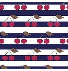 Cherry seamless pattern on striped background vector