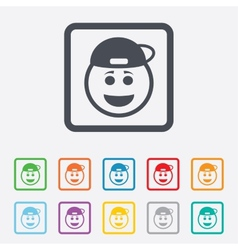 Smile rapper face icon smiley symbol vector