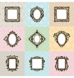 Set of vintage frames vector