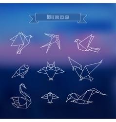 Set polygonal birds vector