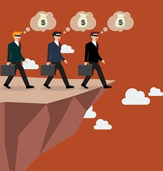 Businessmans walk straight into the abyss vector