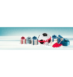 Holiday banner with a gift boxes and soccer ball vector