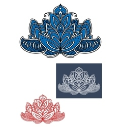 Blue indian paisley flower with curly elements vector