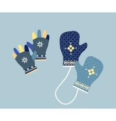Winter mittens in soft vintage colors gloves vector
