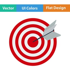 Flat design icon of target with dart vector