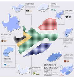Dot and flag map of south africa infographic vector