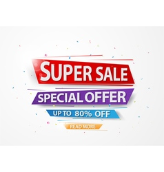Super sale and special offer with colorful paper a vector