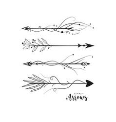 Arrow hand drawn set arrows collection in boho vector