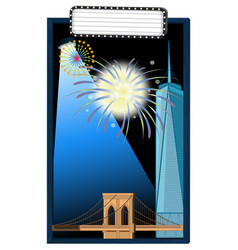 Background design with tower and bridge vector