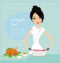Beautiful lady cooking lunch vector image vector image