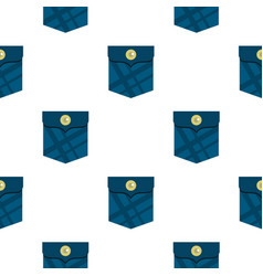 Blue pocket with a button pattern flat vector