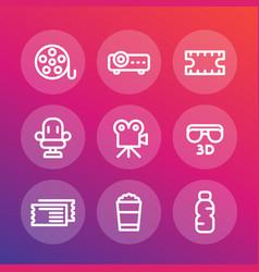 cinema line icons set vector image vector image