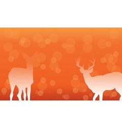 Deer with snow of silhouettes vector