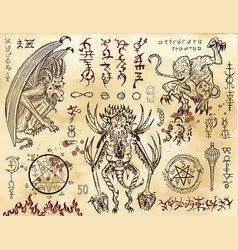 Demon collection with mystic and occult symbols vector