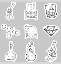 doodle lab equipment stickers vector image vector image