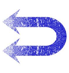 Double left arrow grunge textured icon vector