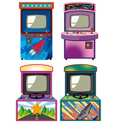 Four design of arcade gameboxes vector image vector image