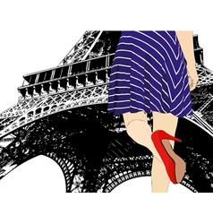 Girl in paris vector