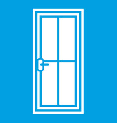 glass door icon white vector image vector image