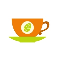 Green tea cup flat icon vector