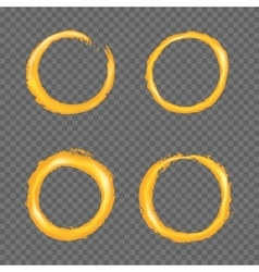 Grunge golden circle border set vector image vector image
