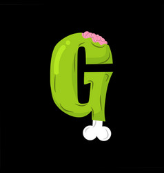 Letter g zombie font monster alphabet bones and vector
