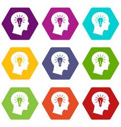 light bulb inside head icon set color hexahedron vector image