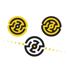 logo symbols in circular maze vector image